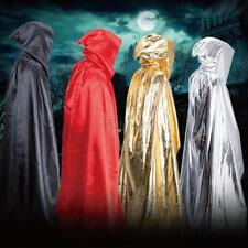 Adult Hooded Long Cloak Gothic Terror Wicca Cape Halloween Fancy Dress Costume