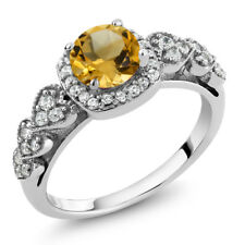 1.02 Ct Round Yellow Citrine 925 Sterling Silver Ring