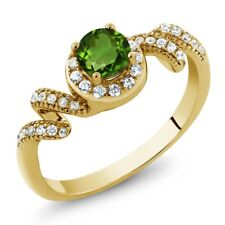0.89 Ct Round Green Chrome Diopside 18K Yellow Gold Plated Silver Twist Ring