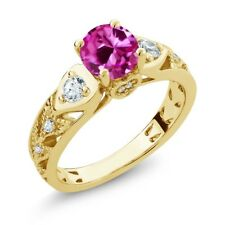 2.26 Ct Round Pink Created Sapphire 18K Yellow Gold Plated Silver Ring