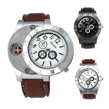 Men Military Analog Quartz Watch Windproof USB Cigarette Cigar Flameless Lighter