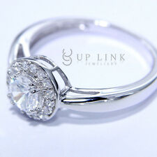 Cocktail White Cubic Zirconia Wedding Engagement Ring Sterling Silver For Women