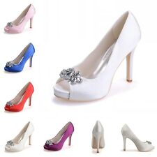 Ivory/White Bridal Pumps Heels Shoes Satin Women Party Evening Crystal Shoes 7