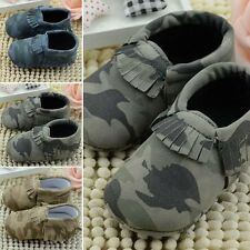 Newborn Baby Boys Girl Toddler Soft Sole Infant Kid Camo Moccasins Tassel Shoes