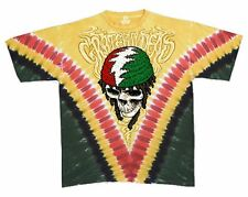 Grateful Dead Tie Dye Rasta Dread Dead V-Dye T Shirt  LICENSED, M, L, XL, 2XL