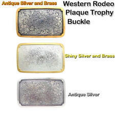 WESTERN ENGRAVED RODEO PLAQUE TROPHY COWBOY BELT BUCKLE NEW - CHOOSE ONE
