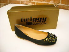 Twiggy London Black Satin Jeweled Ballet Flats New