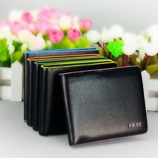 Hot Mens Leather Black Wallet Cente Bifold Card Clutch Purse Pockets Money Clip