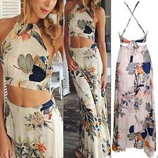 Womens Ladies Chiffon Bohemian Sleeveless Maxi Long Cocktail Party Dress S M L