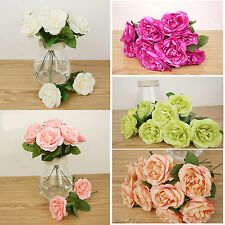 Artificial Rose Peony Fake Flower Bunch Wedding Bridal Bouquet Home Party Decor