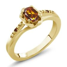 0.42 Ct Oval Orange Red Madeira Citrine Red Garnet 14K Yellow Gold Ring