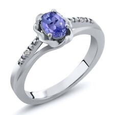 0.47 Ct Oval Blue Tanzanite White Sapphire 925 Sterling Silver Ring