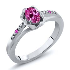 0.52 Ct Oval Pink Created Sapphire Pink Sapphire 925 Sterling Silver Ring