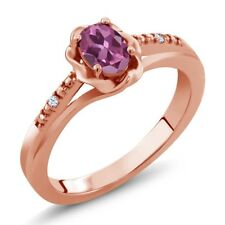 0.52 Ct Oval Pink Tourmaline White Created Sapphire 18K Rose Gold Ring