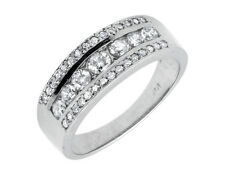 14K White Gold Three Row Round-Cut Diamond 8MM Wide Wedding Band Ring 1.20ct.