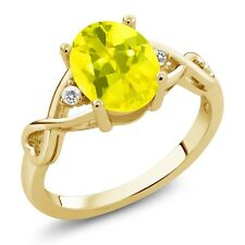 1.84 Ct Canary Mystic Topaz White Sapphire 18K Yellow Gold Plated Silver Ring