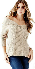 NWT GUESS Reversible knit Sweater Top Pullover Tunic Cowl Neck Tan XS / S