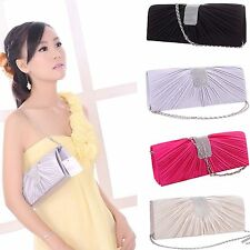 Women Satin Bridal Party Cocktail Evening Bag Clutch Handbag Prom Purse Wallet