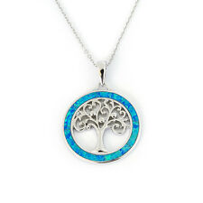 Solid Sterling Silver Rhodium Plated Blue Inlay Simulated Opal Round Necklace