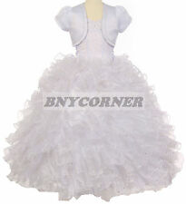 Flower Girl Glitter Ruffled Rhinestone White Dress First Holy Communion Easter