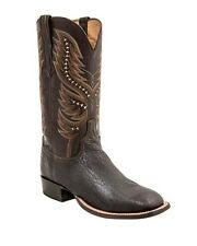 Lucchese HY2024 Mens Chocolate Shark Leather Western Horseman Cowboy Boots