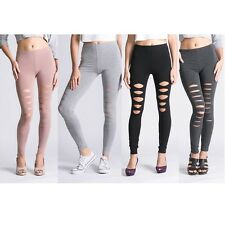 Lady Ripped Stretchy Torn Skinny Slim Leggings Pants free size - Choose Color