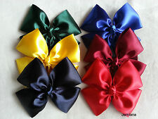 Jemlana's handmade school satin ribbon hair clips for girls