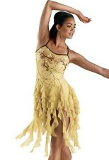 FIELDS OF GOLD Ice Skating Beaded Lyrical Dress Dance Costume Child Medium NEW