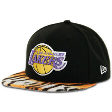 """New Era 59Fifty Los Angeles Lakers """"Visor Real Tiger"""" Fitted Hat (Black) NBA Cap"""