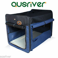 Blue Brown Pet Dog Soft Crate Portable Carrier Folding Travel Cage Tent Kennel