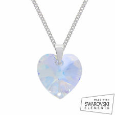 925 Sterling Silver Swarovski Crystal Heart Pendant Chain Necklace CRYSTAL AB