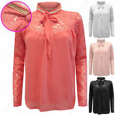 NEW LADIES DIAMANTE NECK LACE CHIFFON BLOUSE WOMEN TIE FRONT PUSSY BOW LINED TOP