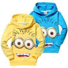 Cute Costume Despicable Me Minions Kids Boys Girls Hoodies Coat Clothes 1-7Y