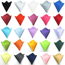 Men Fashion Satin Solid Pocket Square Wedding Party Hanky Handkerchief NEW