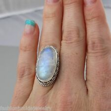 Oval Moonstone Filigree Ring - 925 Sterling Silver Genuine Natural Gemstone NEW