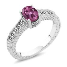 1.18 Ct Oval Pink Tourmaline White Diamond 18K White Gold Engagement Ring