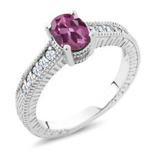 1.25 Ct Oval Pink Tourmaline White Created Sapphire 925 Sterling Silver Ring
