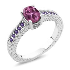 1.25 Ct Oval Pink Tourmaline Purple Amethyst 925 Sterling Silver Engagement Ring