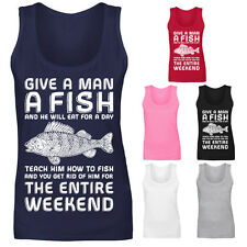 Womens Give A Man A Fish Fishing Angling Gift Funny Vest Tank Top NEW UK 8-16