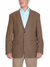 Tasso Elba Classic Fit Brown Houndstooth Two Button Wool Blend Blazer Sportcoat