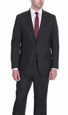 Alfani RED Slim Fit Charcoal Gray And Red Pinstriped Two Button Wool Suit