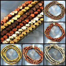 """3x3mm Color Faceted Cube Brass Beads 25"""", Silver,Gold, Copper, pick your color"""