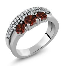 2.00 Ct Round Red Garnet 925 Sterling Silver Ring