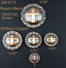 CONCHOS LOT OF 6 PCS WESTERN ENGRAVED BERRY COPPER CHRISTIAN CROSS 5 SIZES NEW
