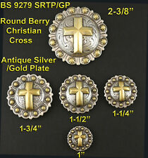 CONCHOS LOT OF 6 PCS RODEO BERRY ANTIQUE SILVER & GOLD CHRISTIAN CROSS 5 SIZES