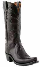 Lucchese N4755 S54 Womens Black Cherry Buffalo Leather Western Cowboy Boots