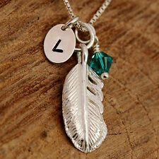 Sterling Silver Personalised Angel or Bird Feather Pendant Necklace & Birthstone