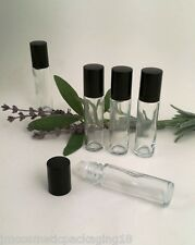 Refillable Rollette Roll On Clear Glass Perfume Aromatherapy Bottles Black Lid