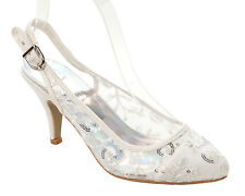 WOMENS WHITE SEQUIN PARTY WEDDING EVENING BRIDAL SANDALS SHOES LADIES SIZE 3-8