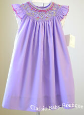 NWT Petit Ami Lavender Smocked Bishop Angel Wing Dress Girls 12 18 24 M Smocking